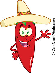Smiling Red Chili Pepper Character - Smiling Red Chili...