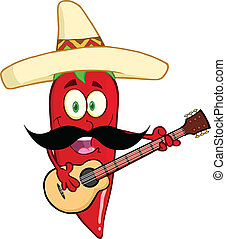 Red Chili Pepper With Mexican Hat - Red Chili Pepper Cartoon...