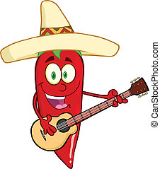 Red Chili Pepper Playing A Guitar - Red Chili Pepper Cartoon...