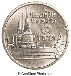1 thai baht coin isolated on white background
