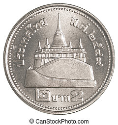 2 thai baht coin isolated on white background