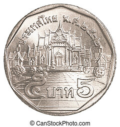 5 thai baht coin isolated on white background