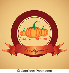 Thanksgiving day Label - abstract thanksgiving day label on...