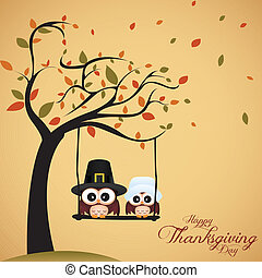 Thanksgiving day - abstract cute owls on special...