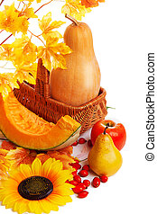 Autum harvest fruits and vegetables in basket with yellow leaves isolated on white