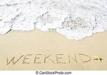 """spiaggia,  """"weekend"""", sabbioso, segno"""