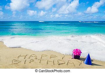 """birthday"""", spiaggia, sabbioso,  """"happy, segno"""