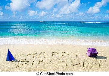 """sinal, """"Happy, Birthday"""", arenoso, praia"""