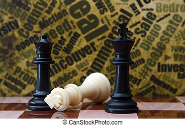 Chess against grunge background