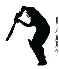 Sport Silhouette - Cricket Batsman Blocking Ball - Sport...