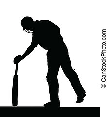 Sport Silhouette - Cricket Batsman Checking Pitch for Uneven...
