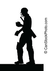 Sport Silhouette - Dismissed Cricket Batsman Walking Back
