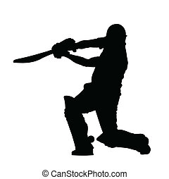 Sport Silhouette - Cricket Batsman Hitting Ground Stroke...