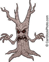 Scary Halloween tree - Evil halloween tree Vector clip art...