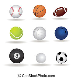 balls - abstract sports balls with shadow effect on white...