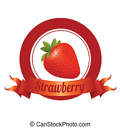 strawberry - abstract special fruit label on white...