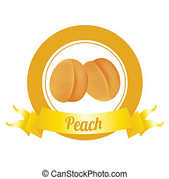 peach - abstract special fruit label on white background
