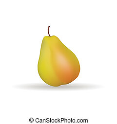 Pear - Abstract fruit with shadow effect on white background
