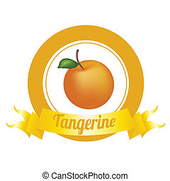 Tangerine - abstract special fruit label on white background