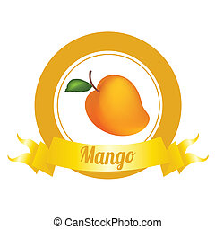 Mango - abstract special fruit label on white background