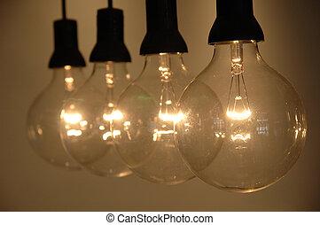 Row of light bulb with shallow DOF