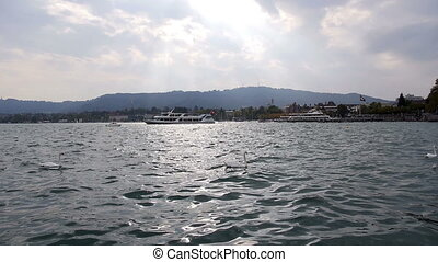 Zurich Lake - HD 1080p - looking at Zurich lake in late...
