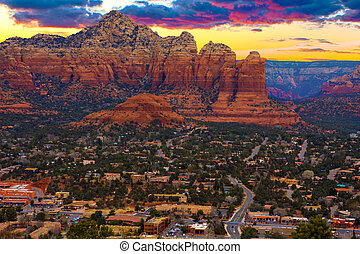 Sunset Vista of Sedona, Arizona - Nice Sunset Image of...