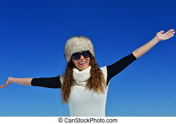 happy woman at winter - happy young woman having fun at...