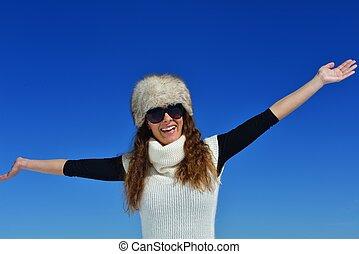 happy woman at winter - happy young woman having fun at...