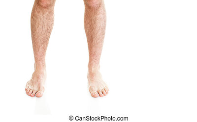 male hairy legs isolated on white background