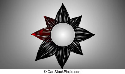 Abstract flower multicolor. HD Loop - Abstract black flower...
