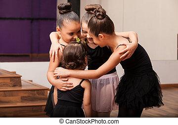 Cute little friends in dance class - Pretty little Hispanic...