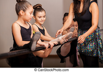 Little girls enjoying dance class - Beautiful little ballet...