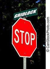 Stop Gridlock street sign either for traffic or the united...