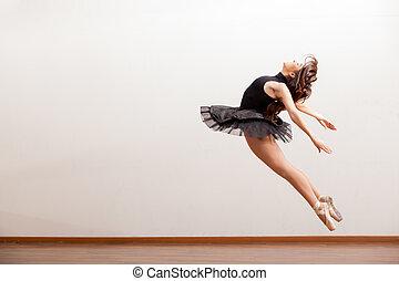 magnífico, bailarina, Durante, salto