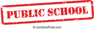 Public School Rubber Stamp Vector - Public school red rubber...