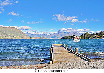 Jetty with mountain background