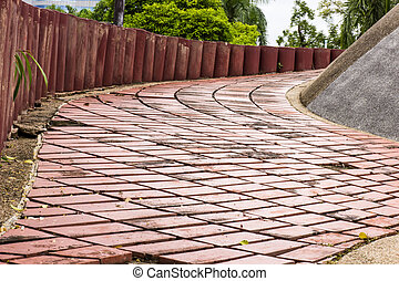 Sidewalk Curving walk from Paving Stones and wood walls...