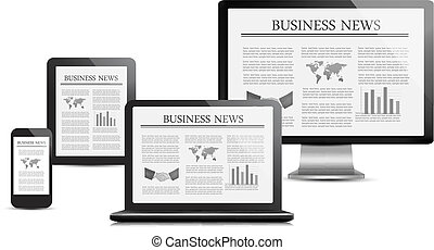Set of digital devices with business news. Vector