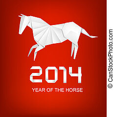 Holiday background for the year 2014. Origami horse. Vector.