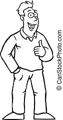 Black and white man with thumbs up