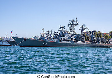 Russian warship in the Bay, Sevastopol, Crimea, Ukraine -...