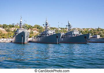russo, Navio guerra, baía, Sevastopol, Crimea,...