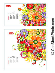 Floral calendar 2014, august. Design for two size of paper