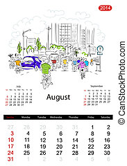 Calendar 2014, august. Streets of the city, sketch for your...