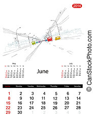 Calendar 2014, june. Streets of the city, sketch for your design