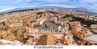 Rome, Italy. Famous Saint Peter's Square in Vatican and...