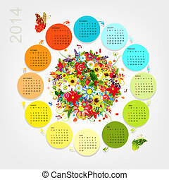 Calendar 2014 with four season bouquet for your design