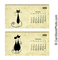 Calendar 2014 with black cats on grunge paper. January and...