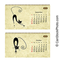 Calendar 2014 with black cats on grunge paper November and...